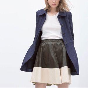 Zara Olive Green Ivory Faux Leather Skater Skirt M